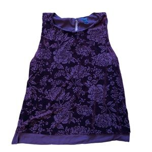Ann Taylor sleeveless velvet like floral pattern L